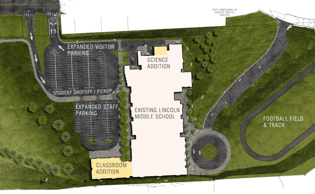 Overview of proposed expansion of Lincoln Middle School